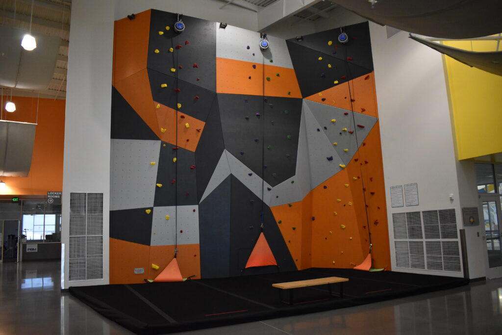 The climbing wall at the Boardman Pool and Recreational Center.