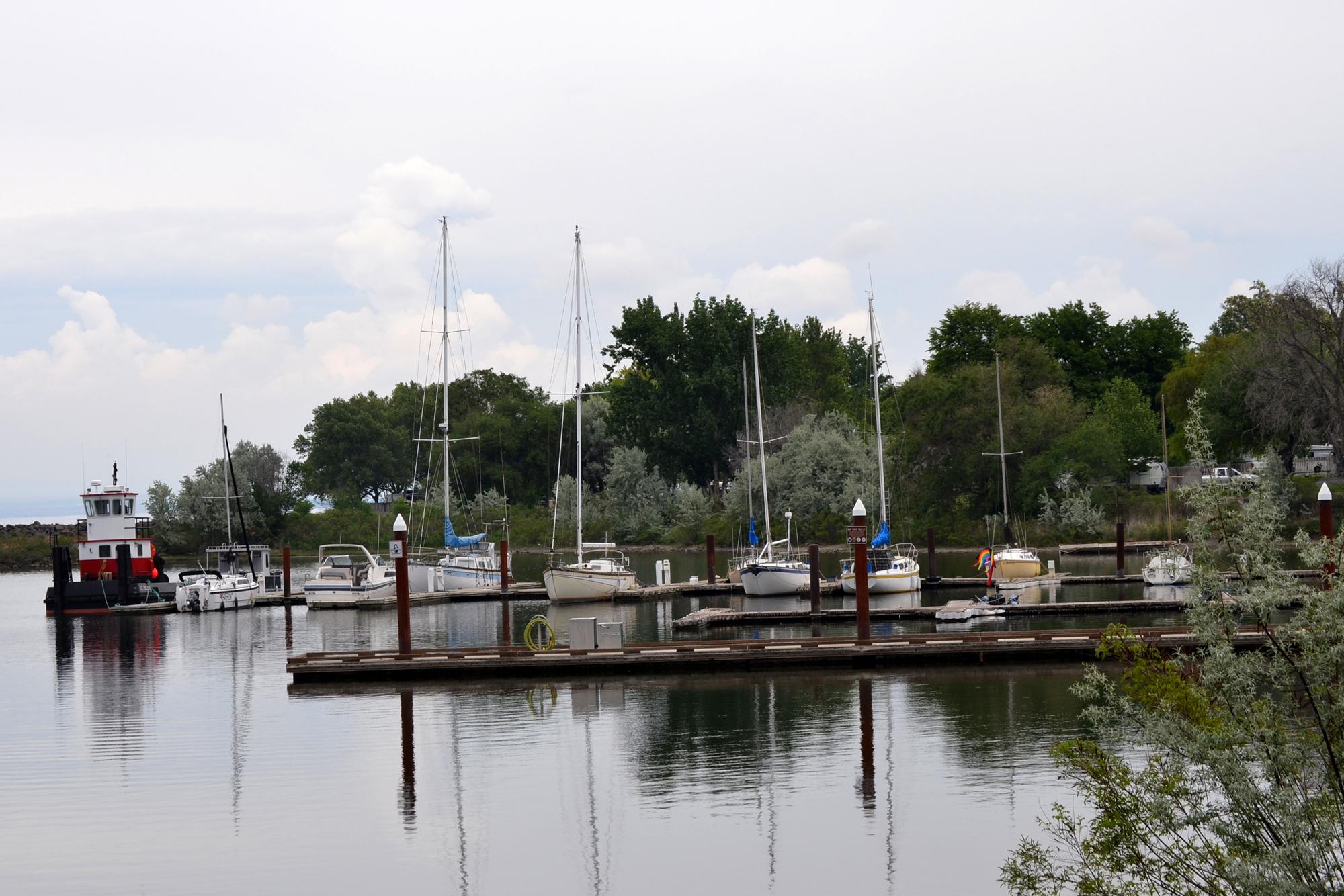 Boat dock with sail boats at the Boardman Marina Park.