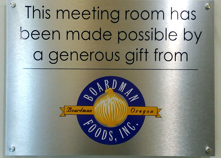 Boardman Foods Inc Meeting Room Sponsorship Plaque