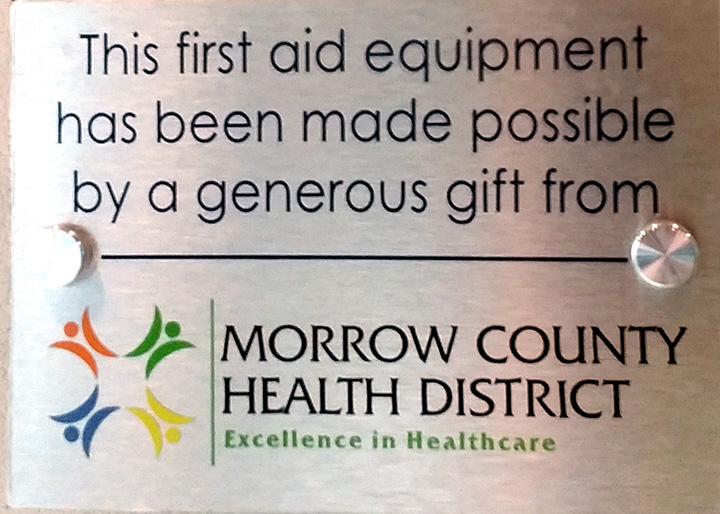 Morrow County Health District First Aid Equipment Sponsorship Plaque
