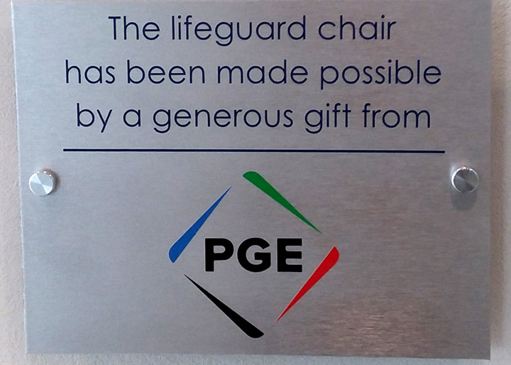 PGE - Portland General Electric Lifeguard Chair Sponsorship Plaque