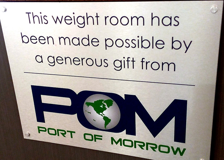 Port of Morrow Weight Room Sponsorship Plaque - Smaller Image Size