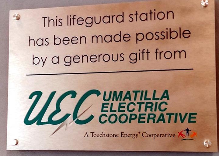 Umatilla Electric Cooperative Lifeguard Stationn Spnosorship Plaque