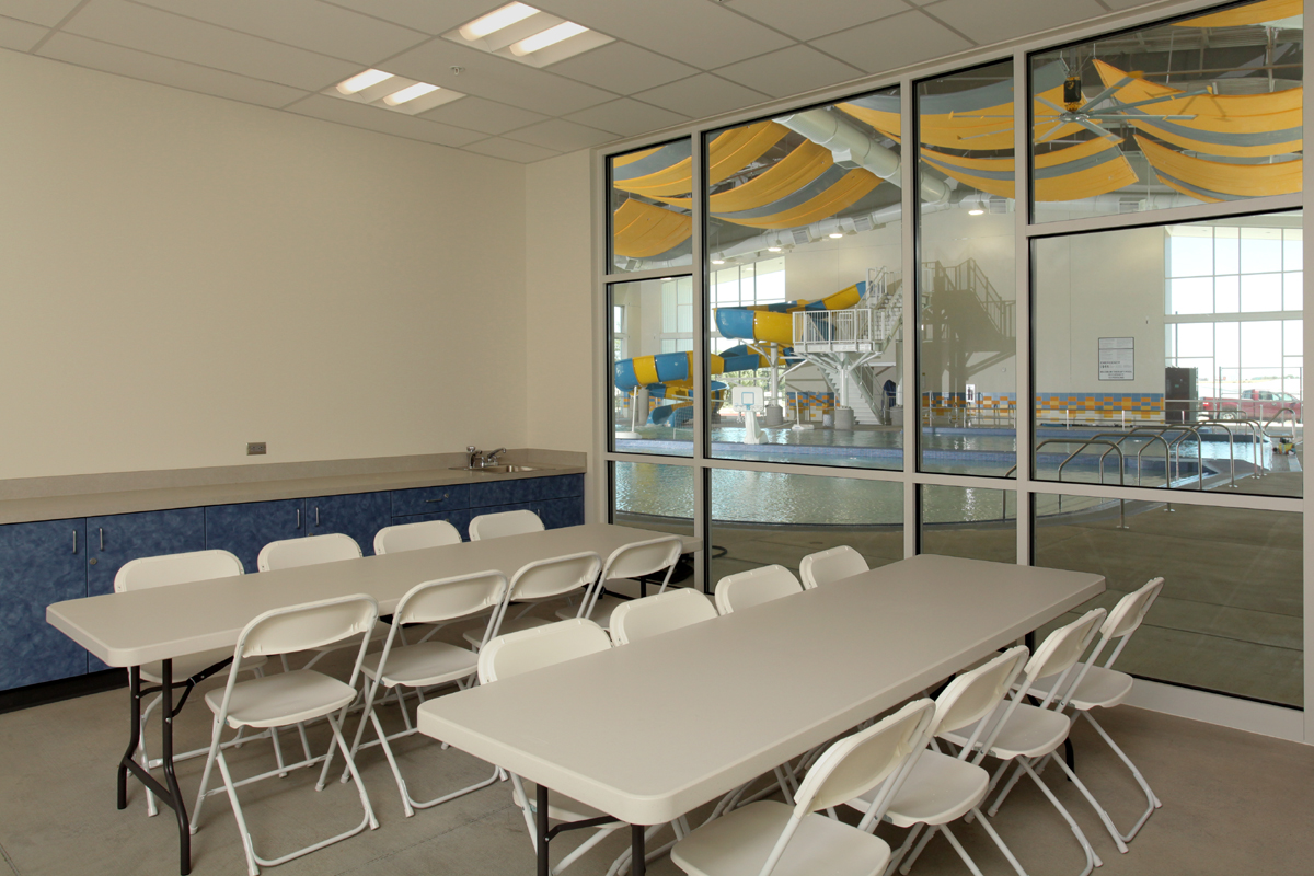 Boardman Pool & Recreational Center Party/Meeting room with tables and chairs setup.