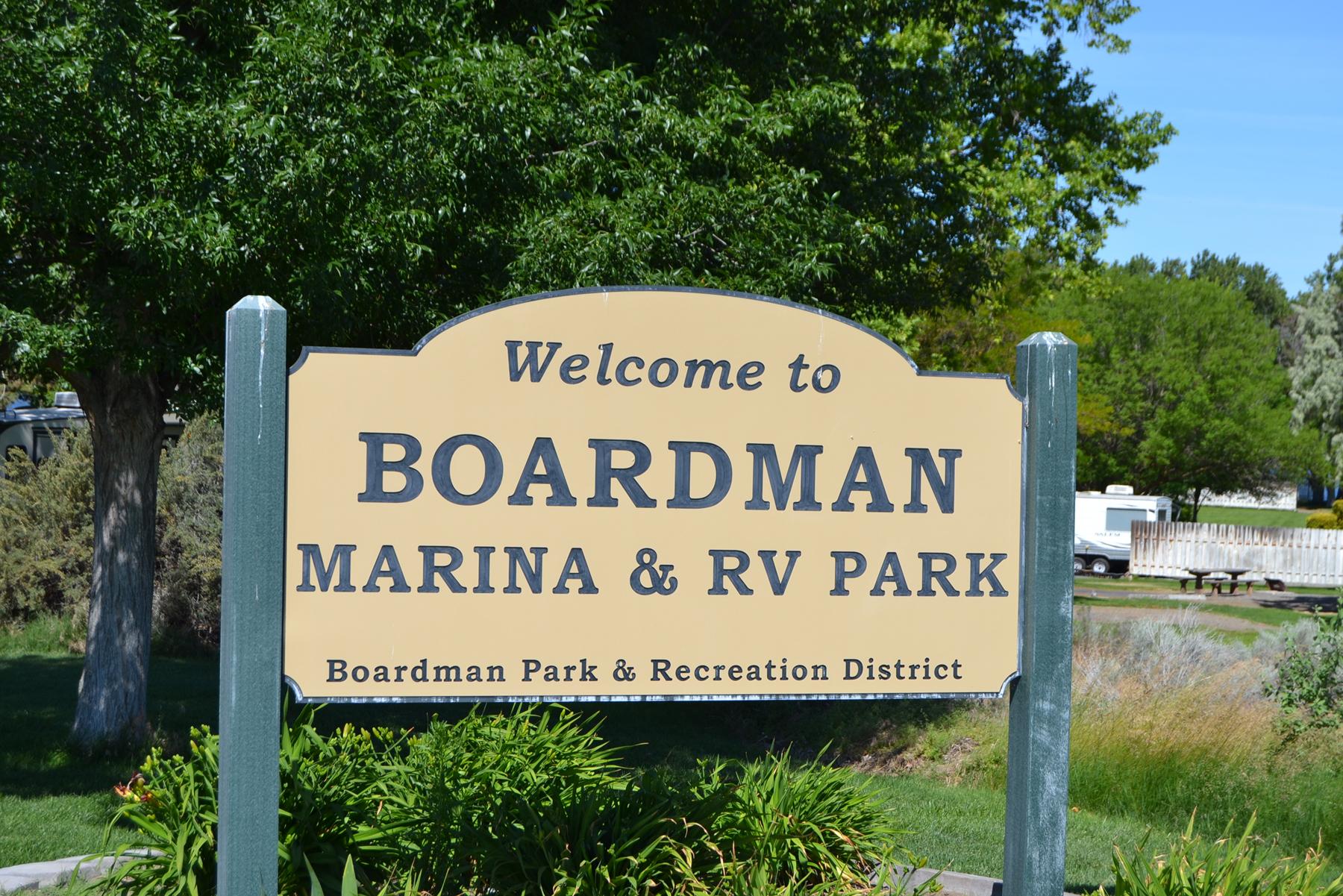 Welcome to Boardman Marina & RV Park, Boardman Park & Recreational District sign.