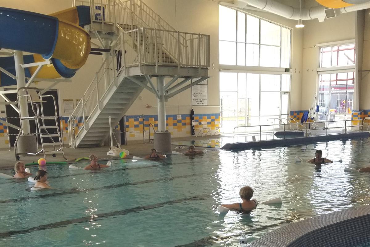 Aquatic class medium impact inside the Boardman Pool and Rec Center.