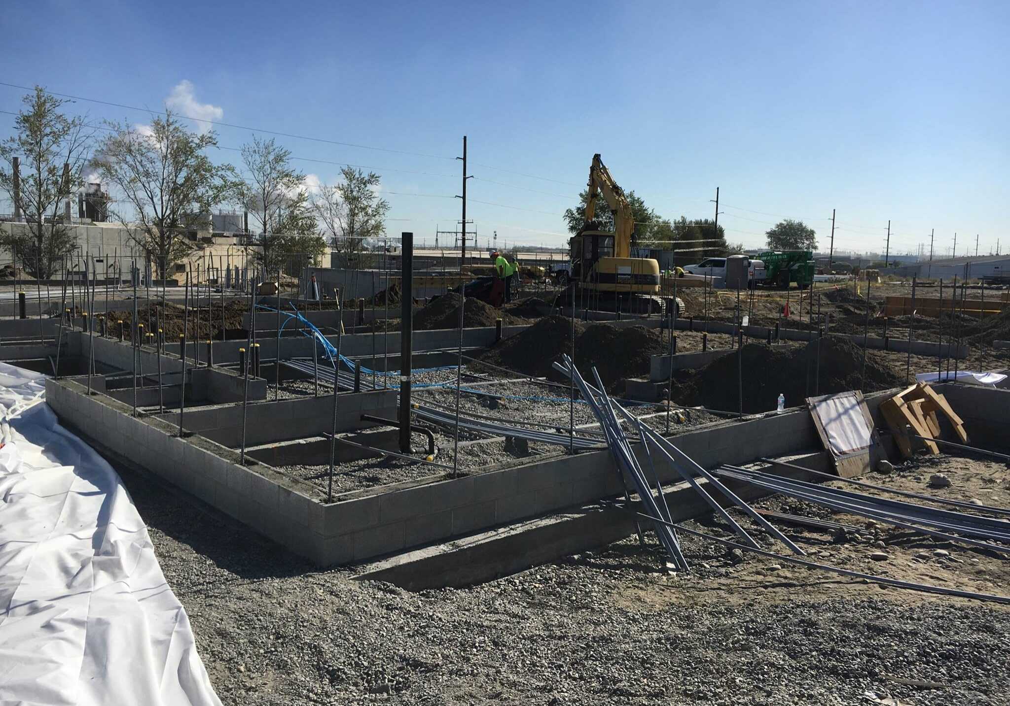 Pool & Recreation Center construction laying the foundation and pouring concrete.
